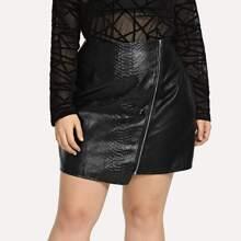Plus Zipper Decoration Solid Skirt