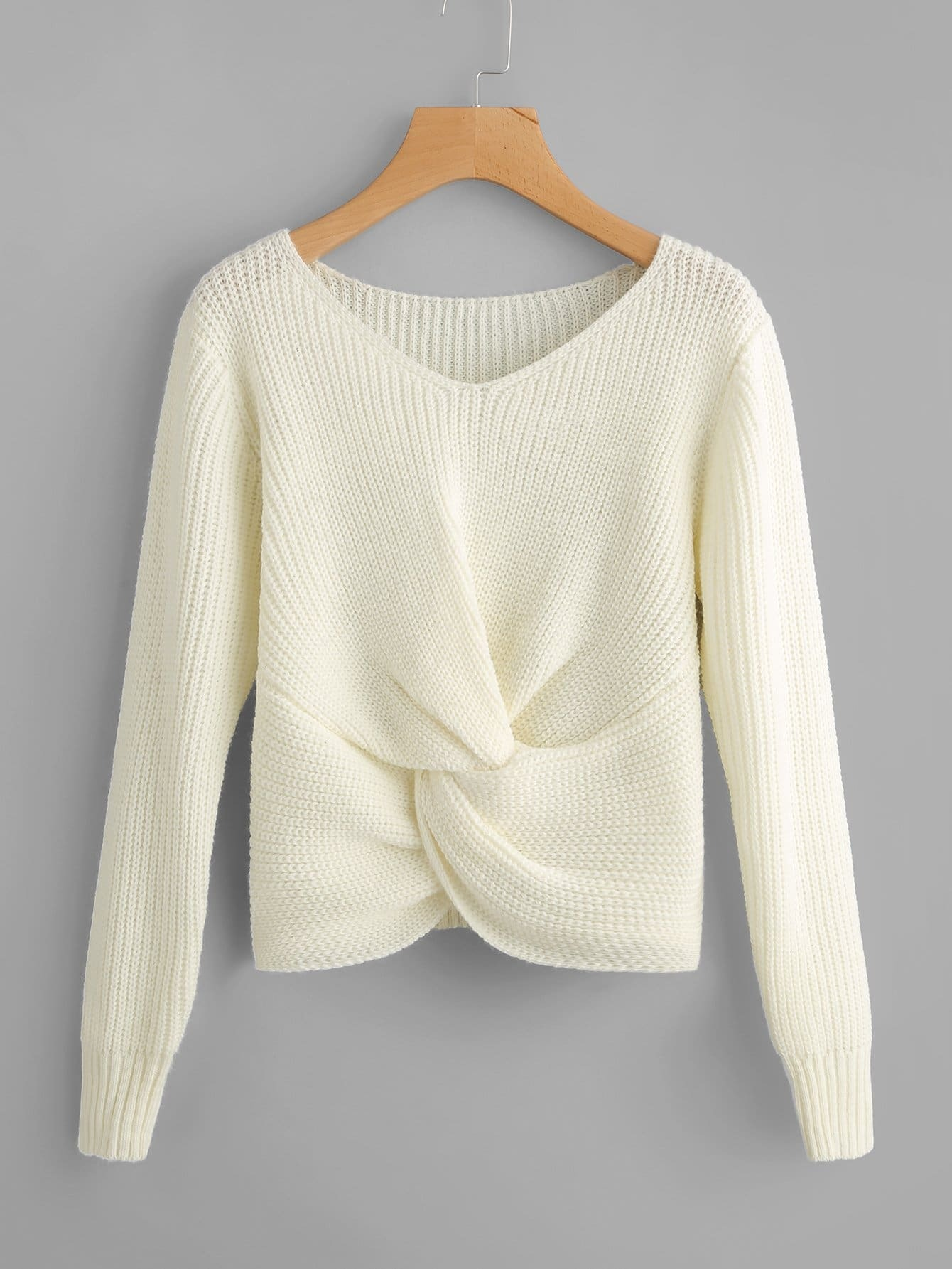 Plus Twist Front Solid Sweater