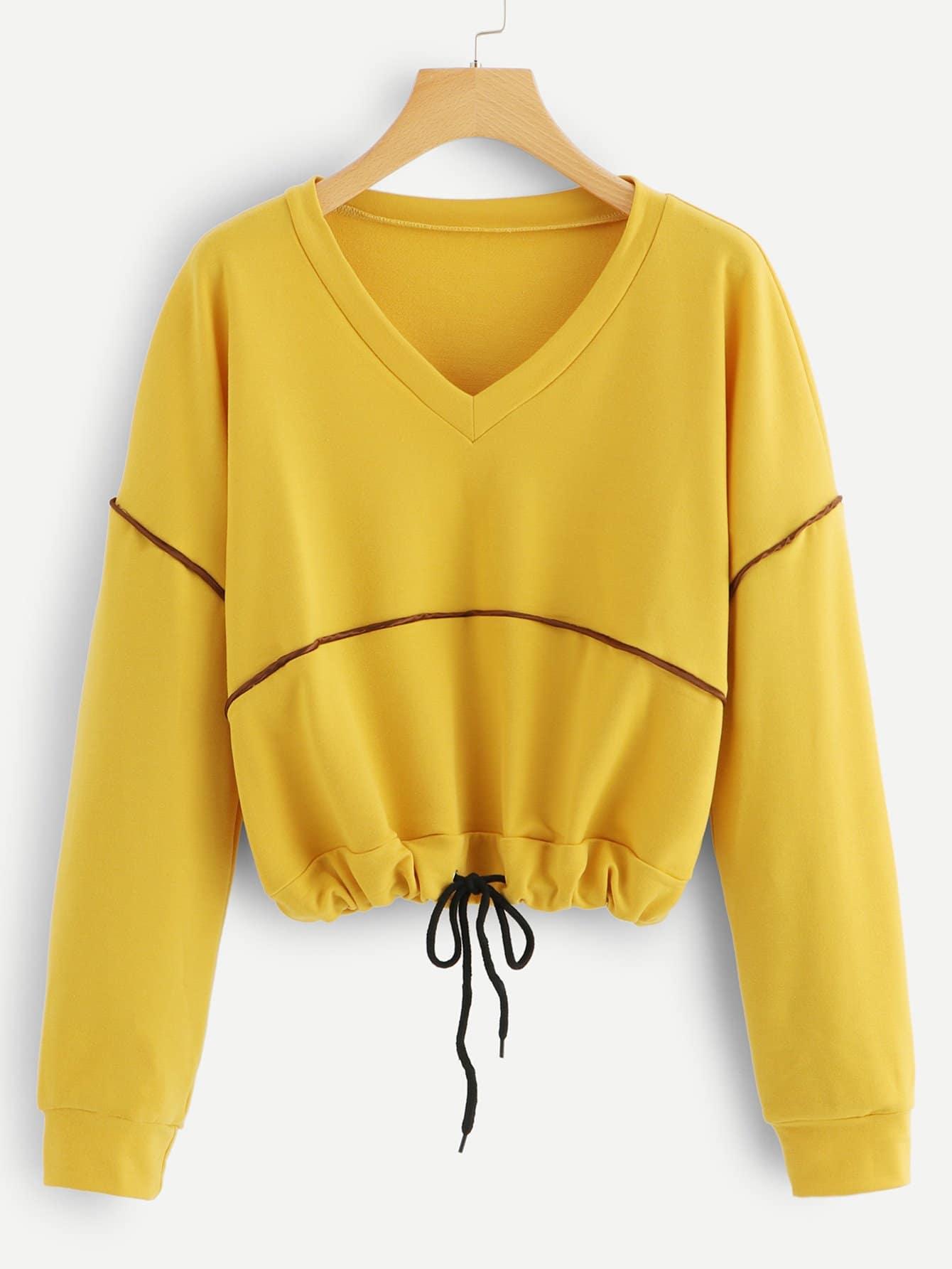 Купить Повседневный на кулиске Пуловеры Имбирный Свитшоты, null, SheIn