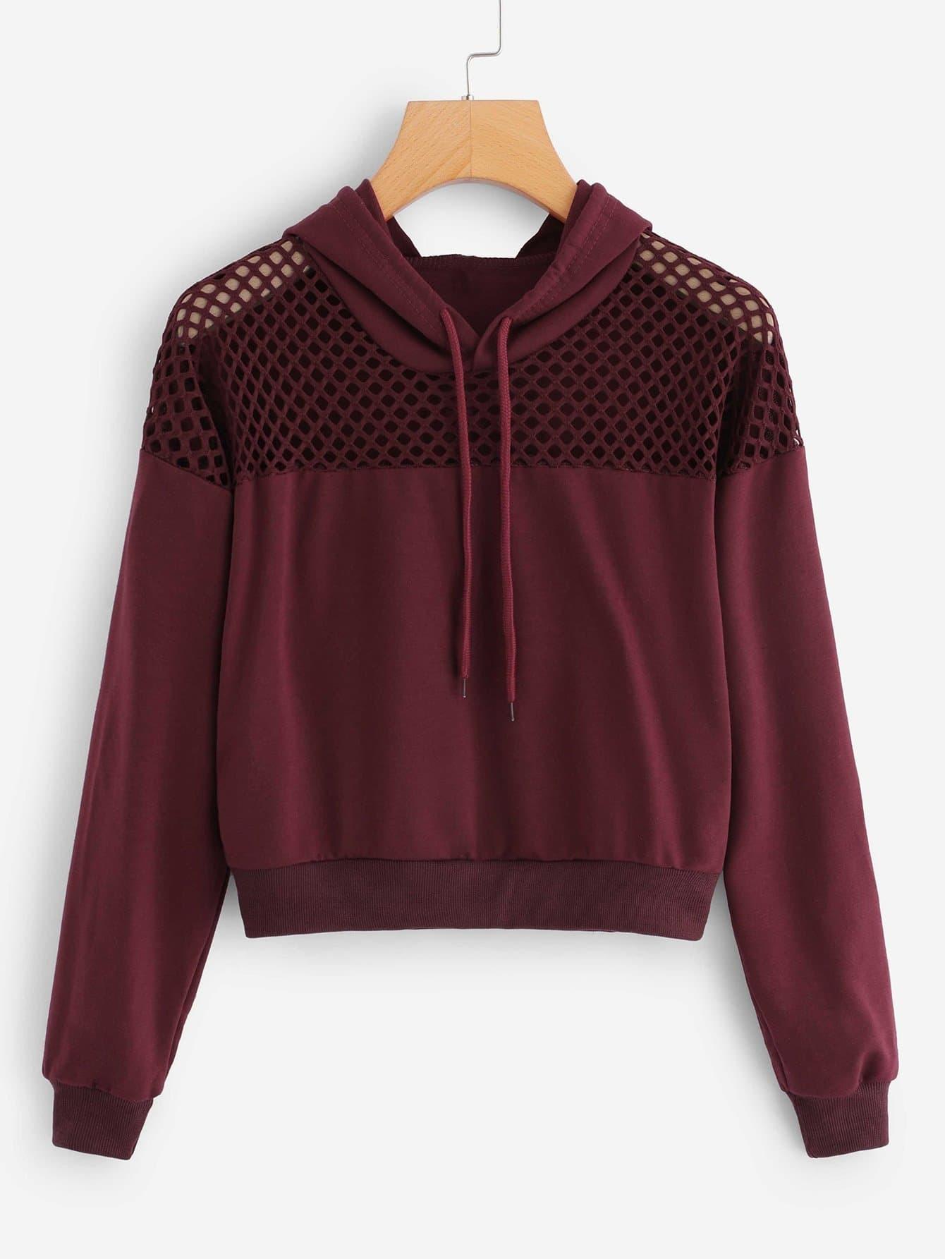 Купить Повседневный Ровный цвет на кулиске Пуловеры Бордовый Свитшоты, null, SheIn
