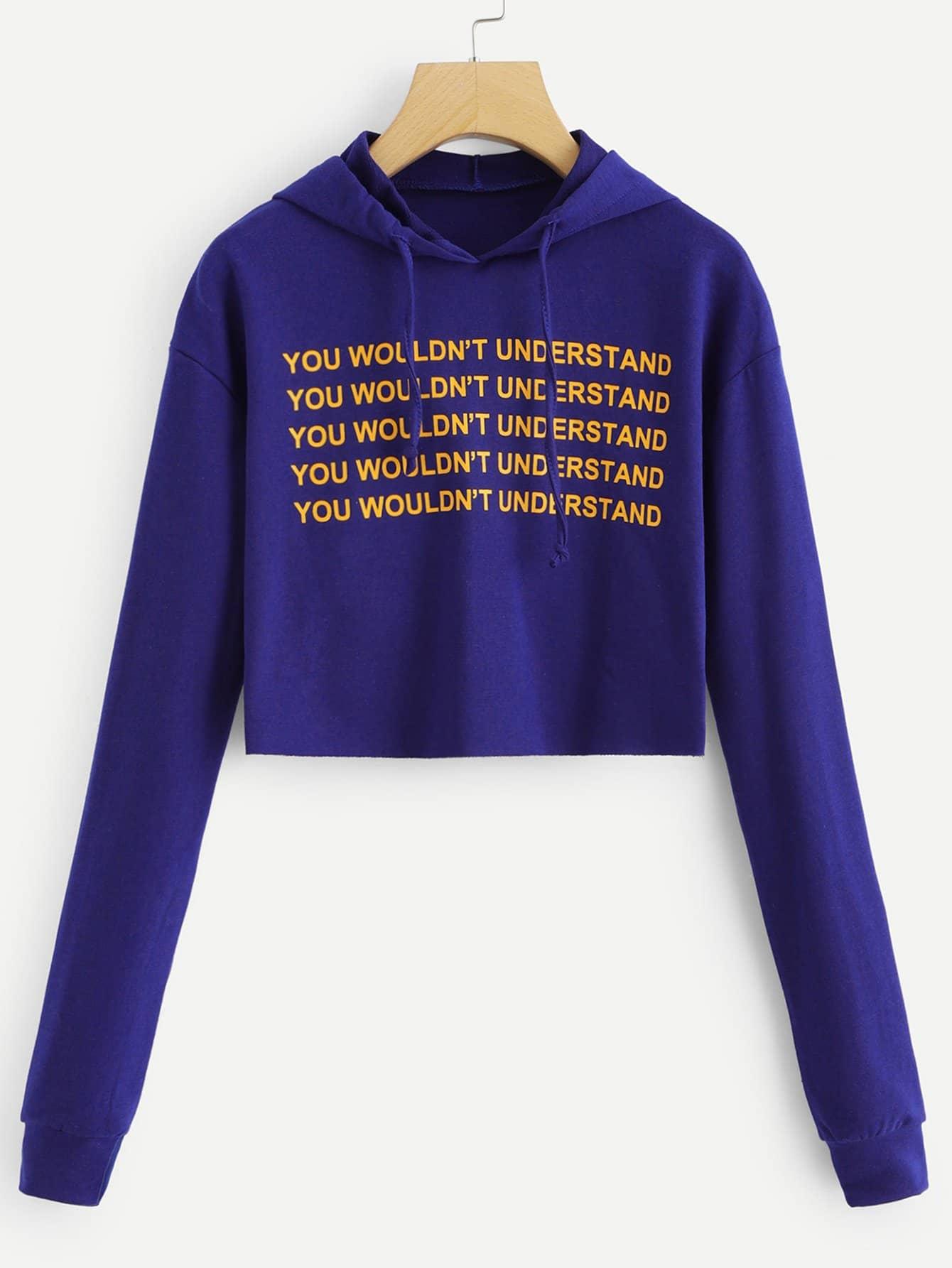 Купить Повседневный Текст на кулиске Пуловеры Синий Свитшоты, null, SheIn
