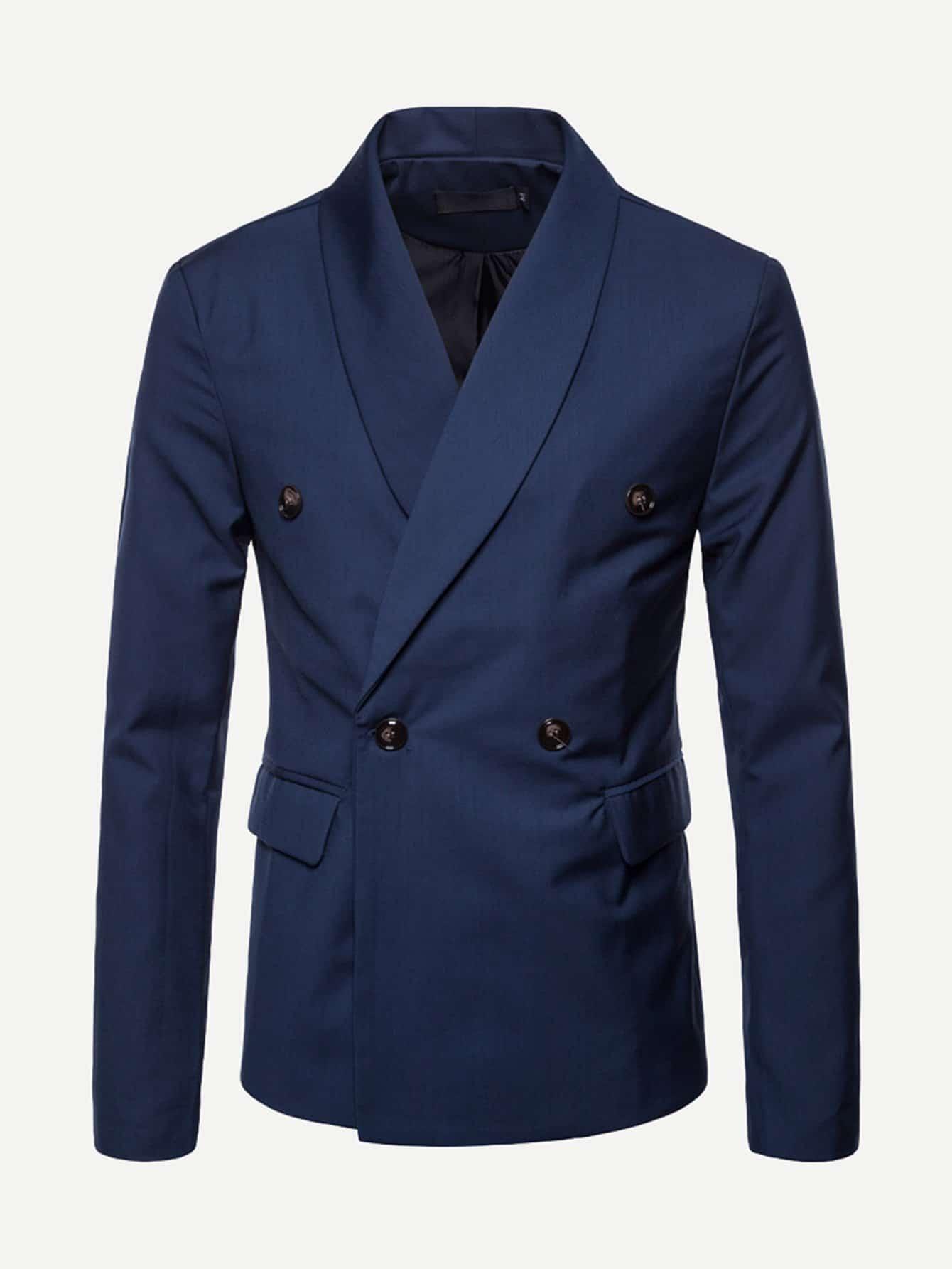 Купить Ровный цвет Синий Мужские блейзеры, null, SheIn