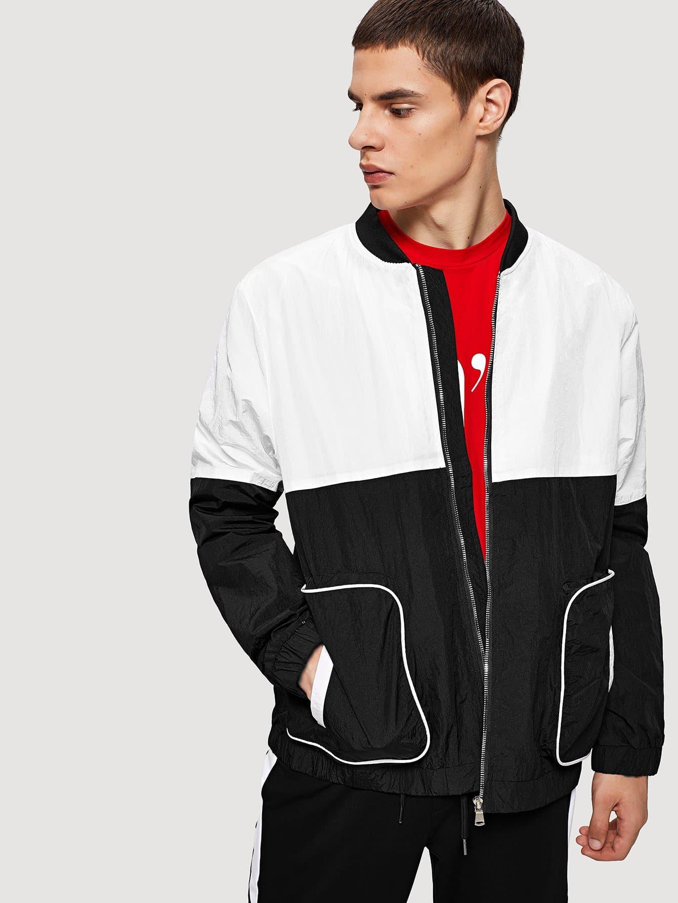 Купить Контрастный цвет Чёрнобелые Мужские пальто и куртки, Bono, SheIn