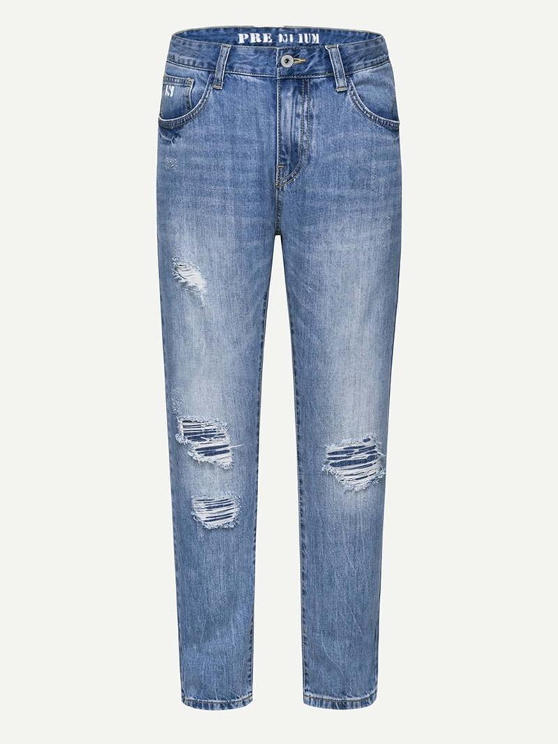 Men Destroyed Straight Leg Jeans, Blue