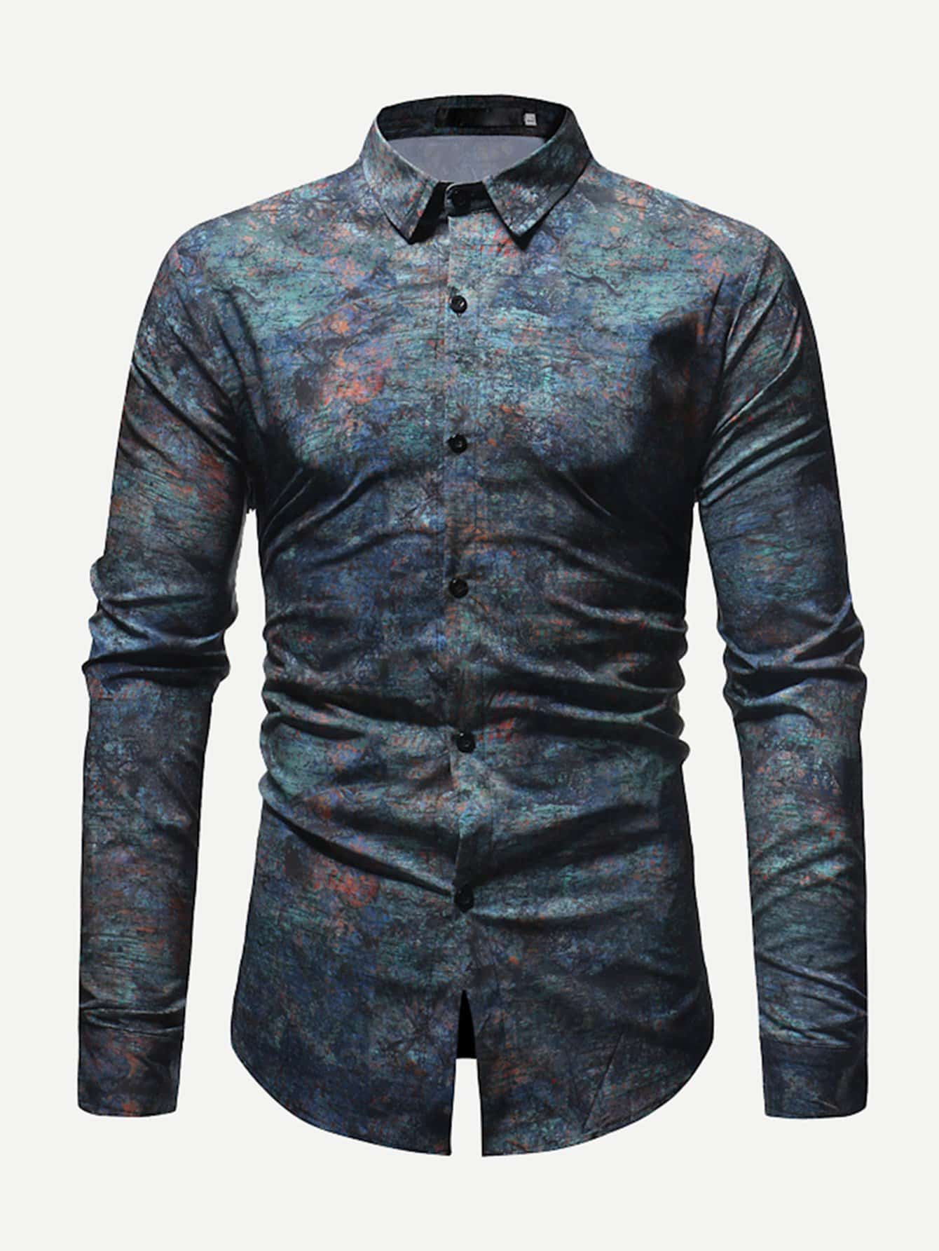 Купить Темно синий Мужские рубашки, null, SheIn