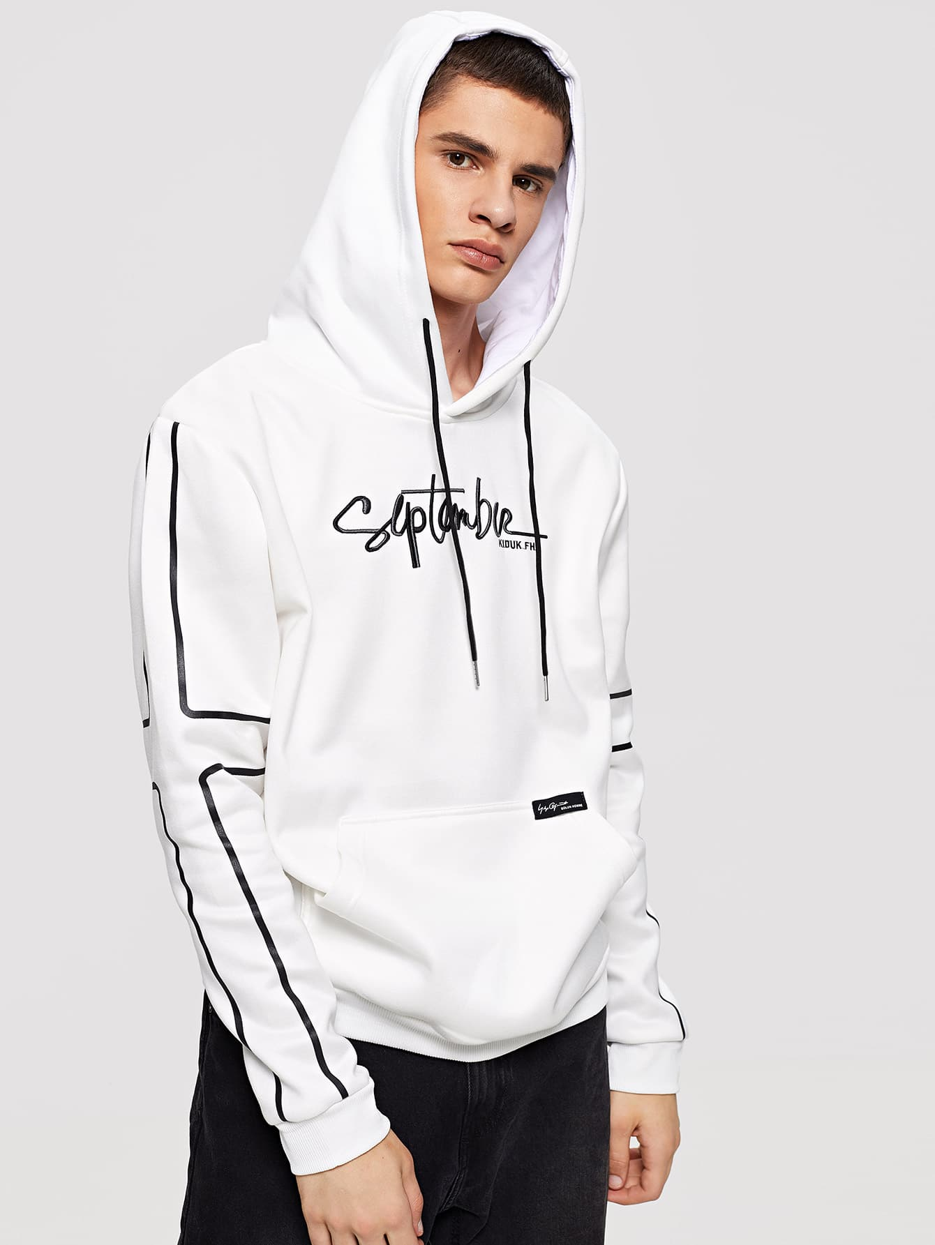 Men Letter Embroidery Hooded Sweatshirt