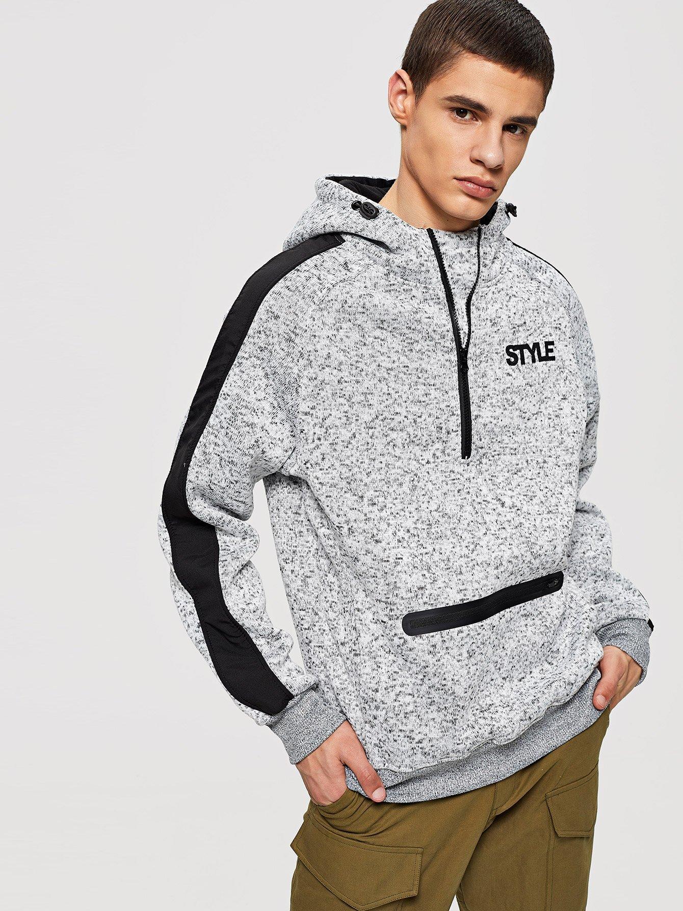 Men Zip Decoration Letter Print Hooded Sweatshirt