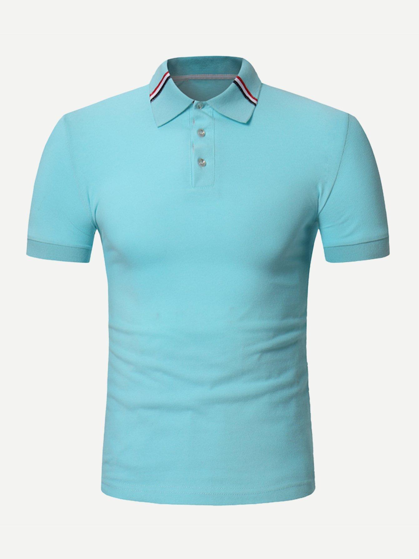 Купить Одноцветный Синий Мужские рубашки поло, null, SheIn