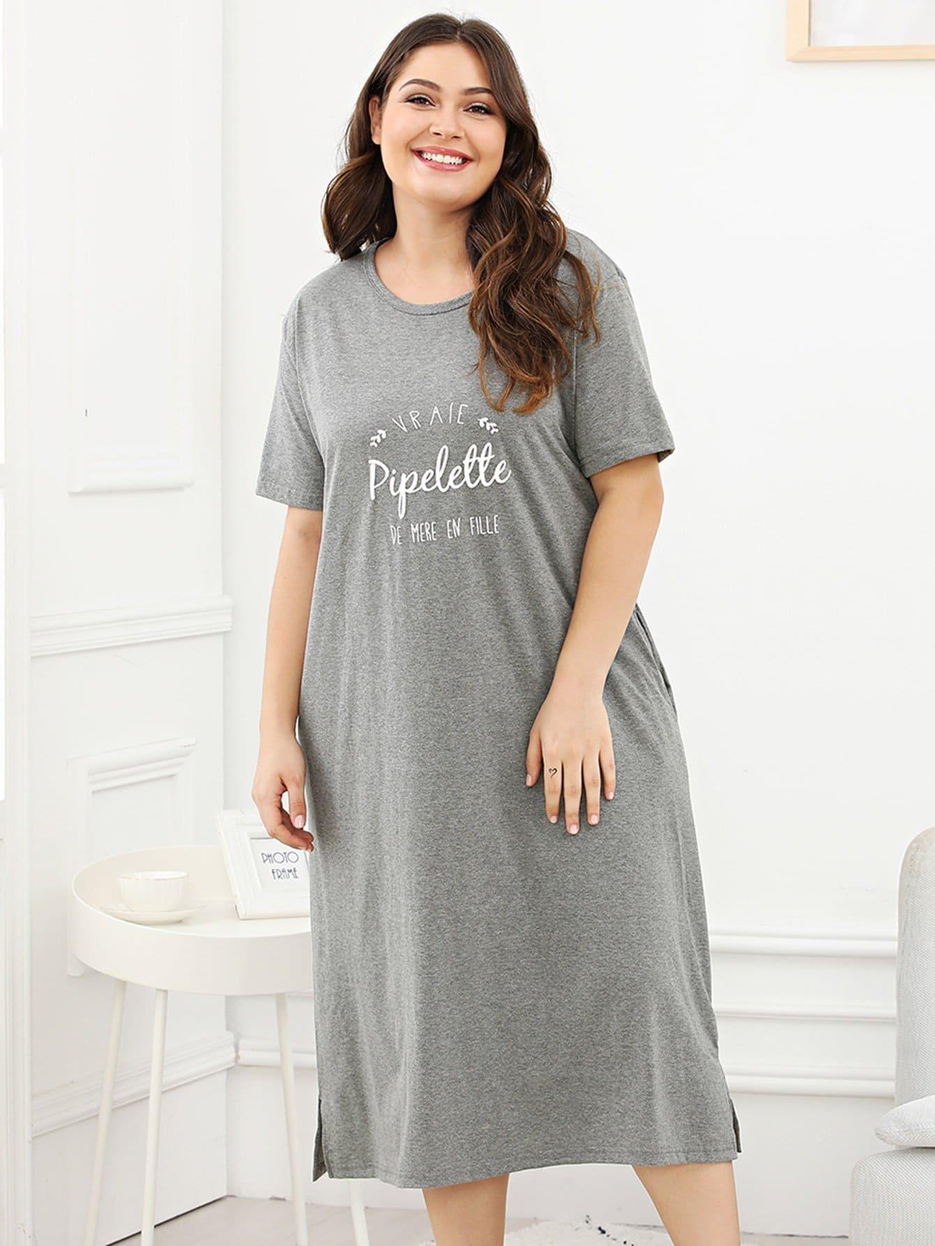 Plus Letter Print Split Side Night Dress