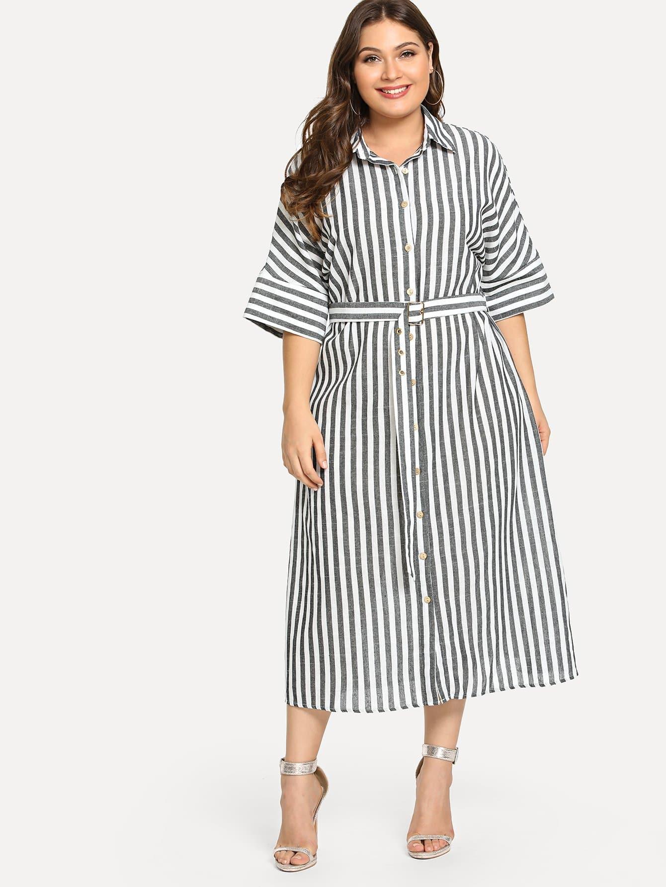Купить Платье рубашки полосатого рукава Batwing, Franziska, SheIn