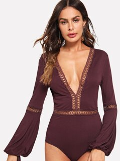 Bishop Sleeve Knot V Back Bodysuit