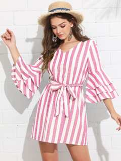 Tiered Ruffle Sleeve Belted Stripe Dress