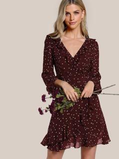 Surplice Neck Allover Star Print Ruffle Dress