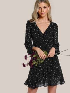Star Print Ruffle Trim Wrap Dress
