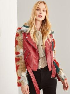 Zip Front Belted Soft Faux Fur Contrast Jacket