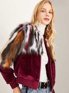 Zipper Up Colorful Faux Fur Coat