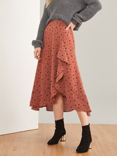 Asymmetrical Hem Polka Dot Print Skirt