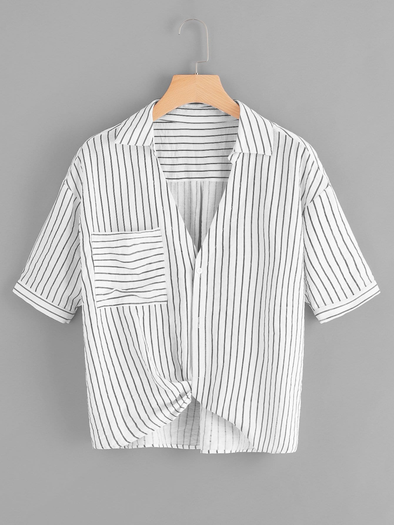 Pocket Patched Front Striped Shirt pocket patched striped shell shirt