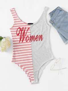 Letter Print Striped Bodysuit