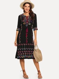Tribal Embroidery Tunic Dress