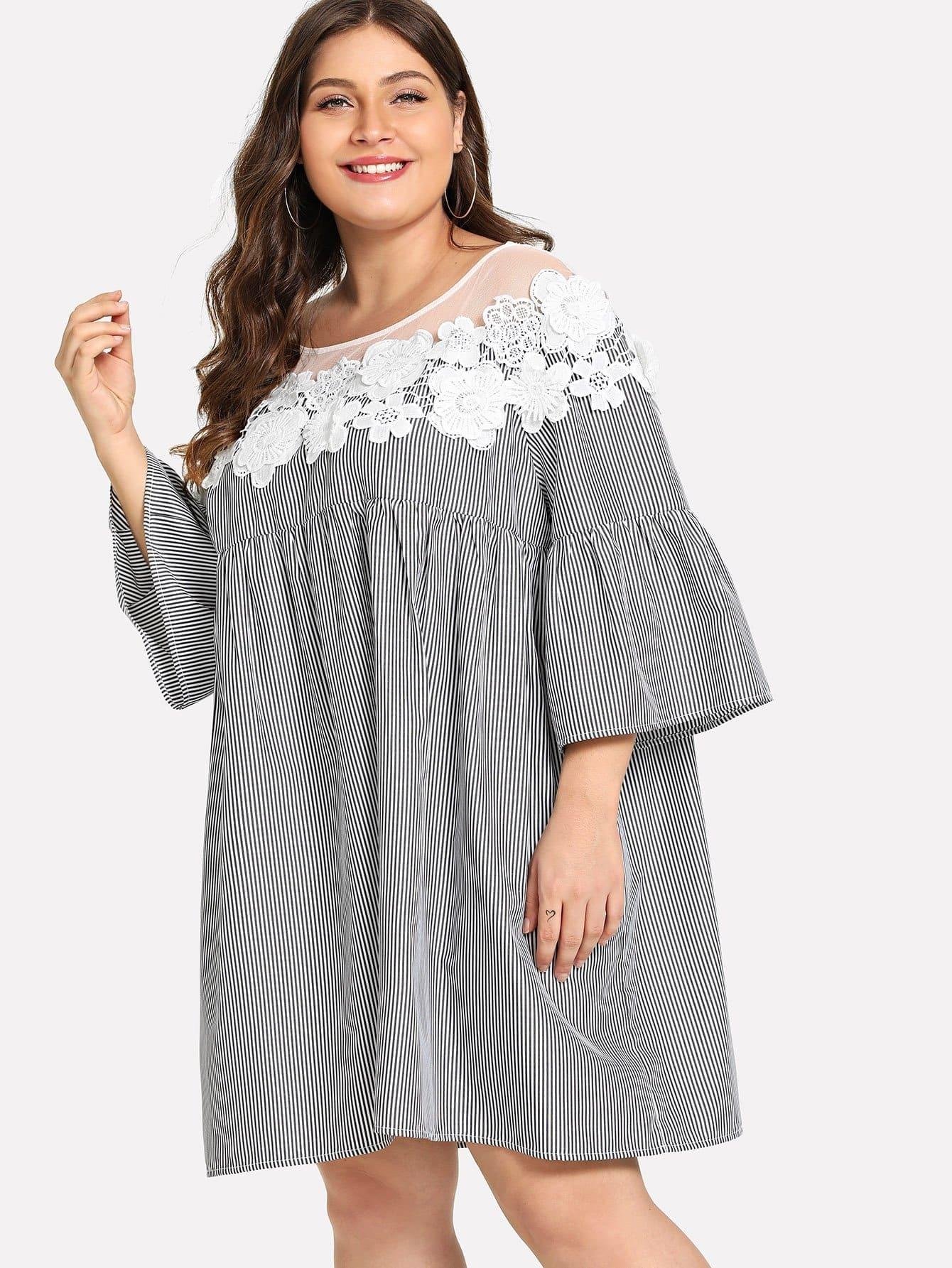 Купить Большое ситцевое кружевное тонкое полосатое Yoke платье накидки, Carol, SheIn