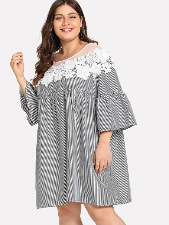 Plus Floral Lace Yoke Pinstripe Smock Dress   MakeMeChic.COM