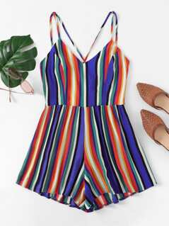 Crisscross Back Striped Cami Romper
