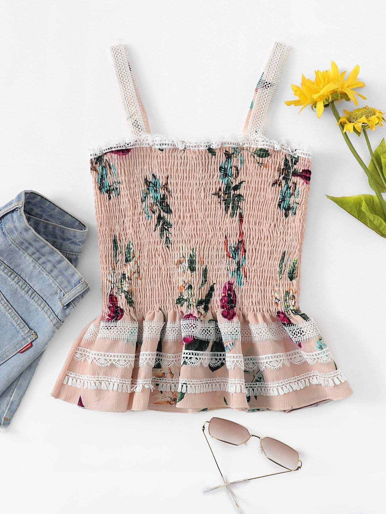 Кружевной Край Цветочная Блузка, null, SheIn  - купить со скидкой