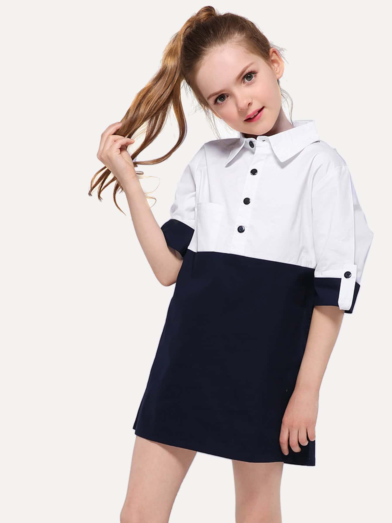 Купить Стиль кэжуал Контрастный цвет рубашка Чёрнобелые Платья для девочек, null, SheIn