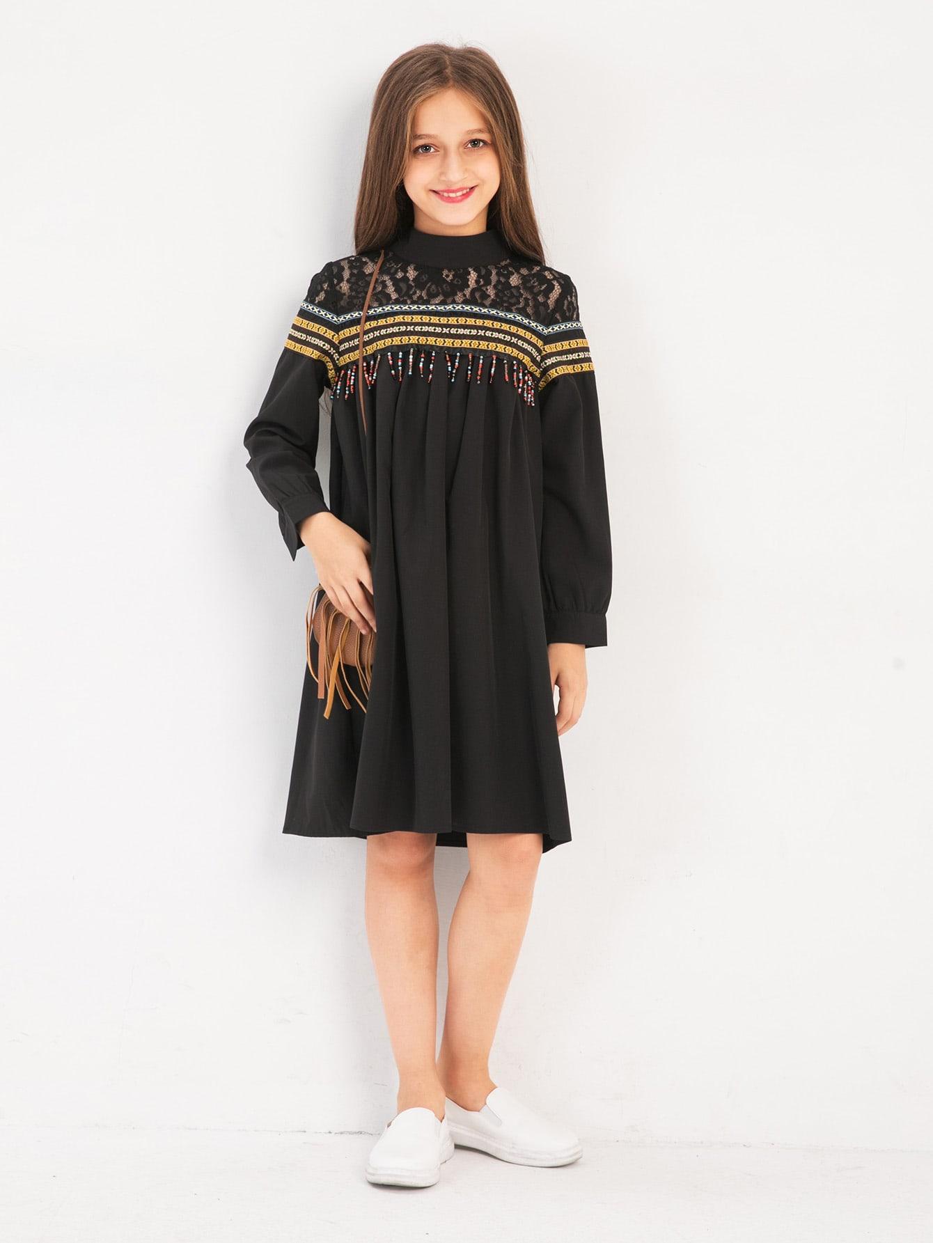 Купить Геометрический принт с бисером Чёрные Платья для девочек, null, SheIn