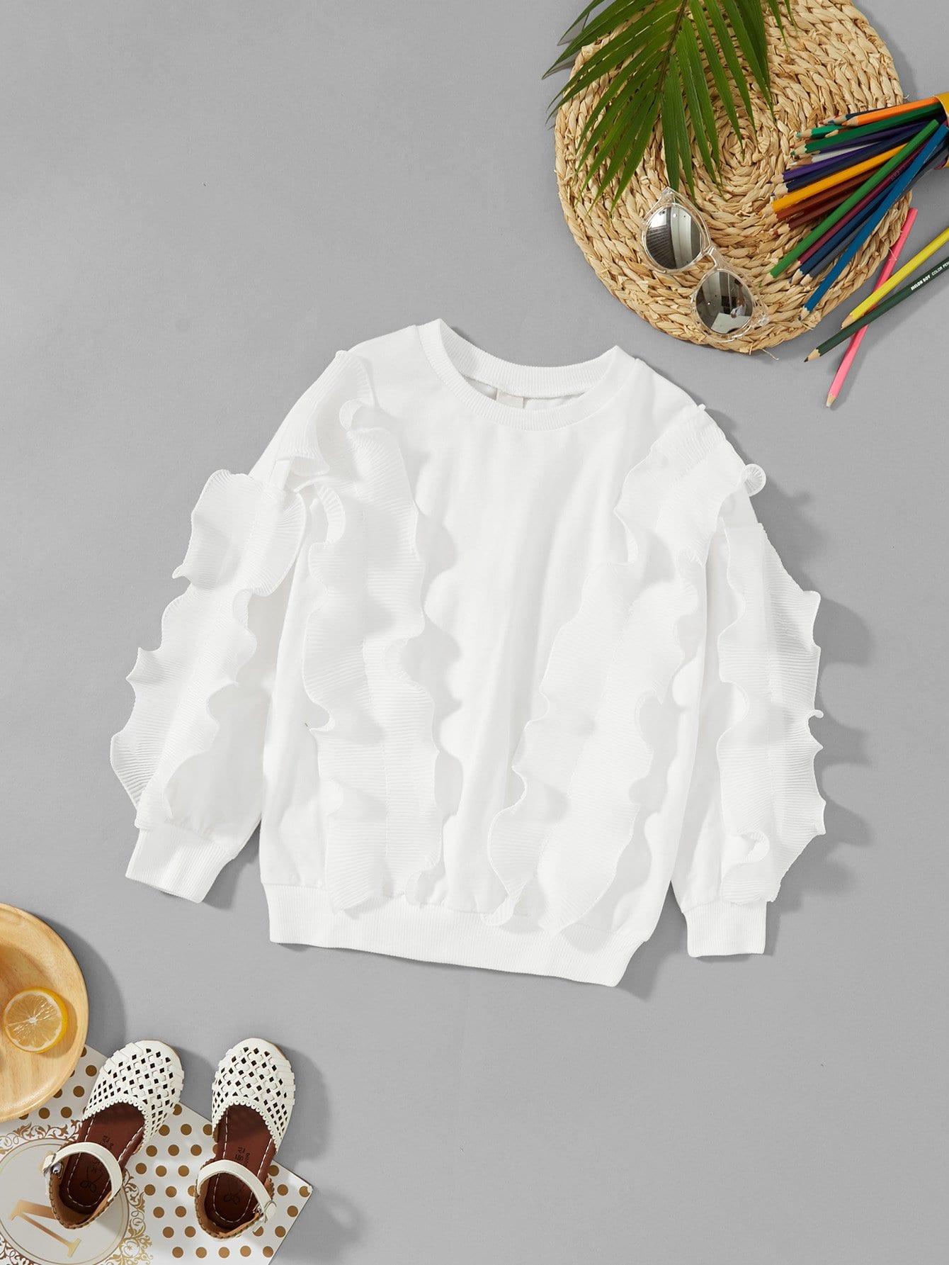 Купить Повседневный Ровный цвет Кайма Пуловеры Белый Свитшоты для девочек, null, SheIn