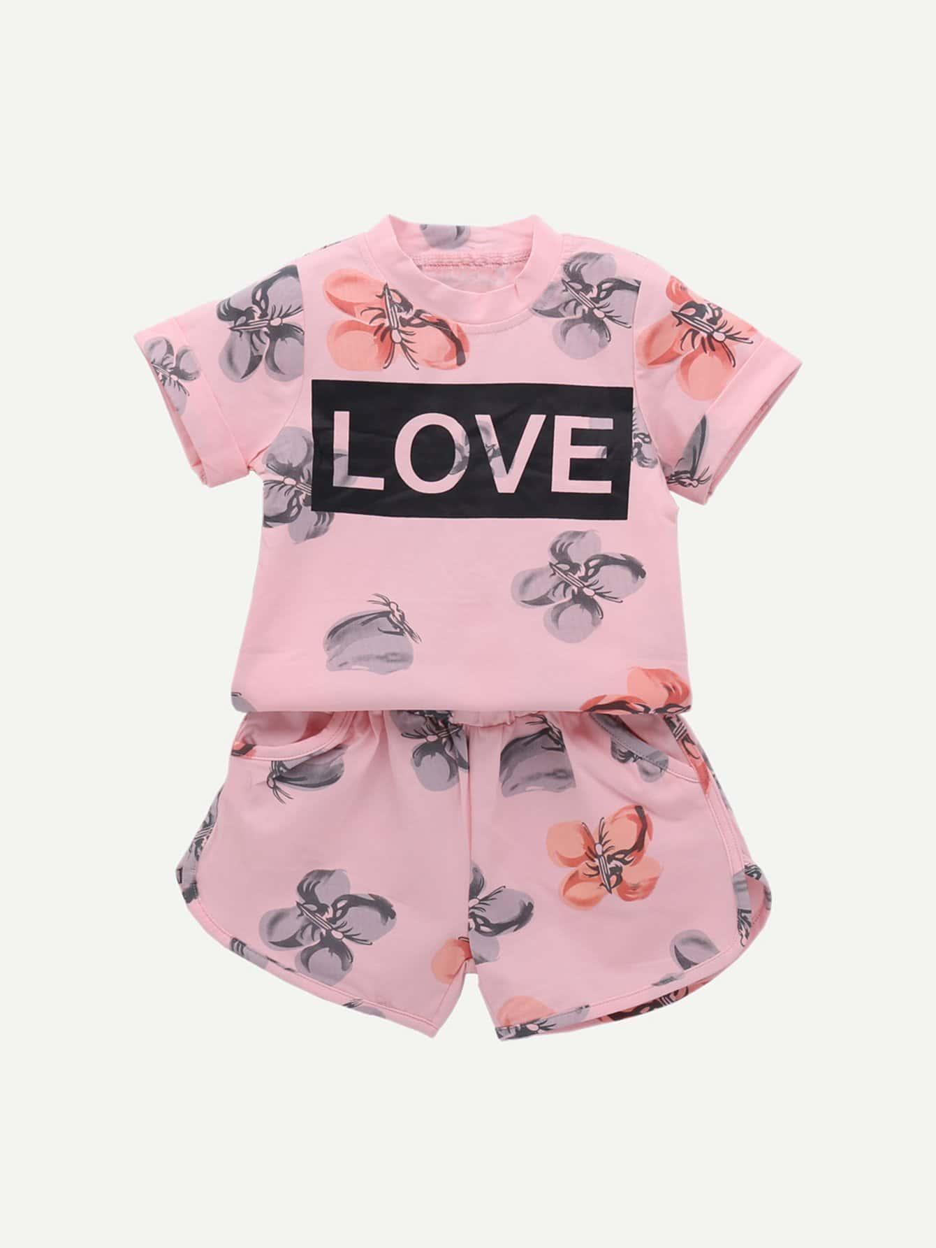 Купить Повседневный стиль Текст Розовый Комплекты для девочек, null, SheIn