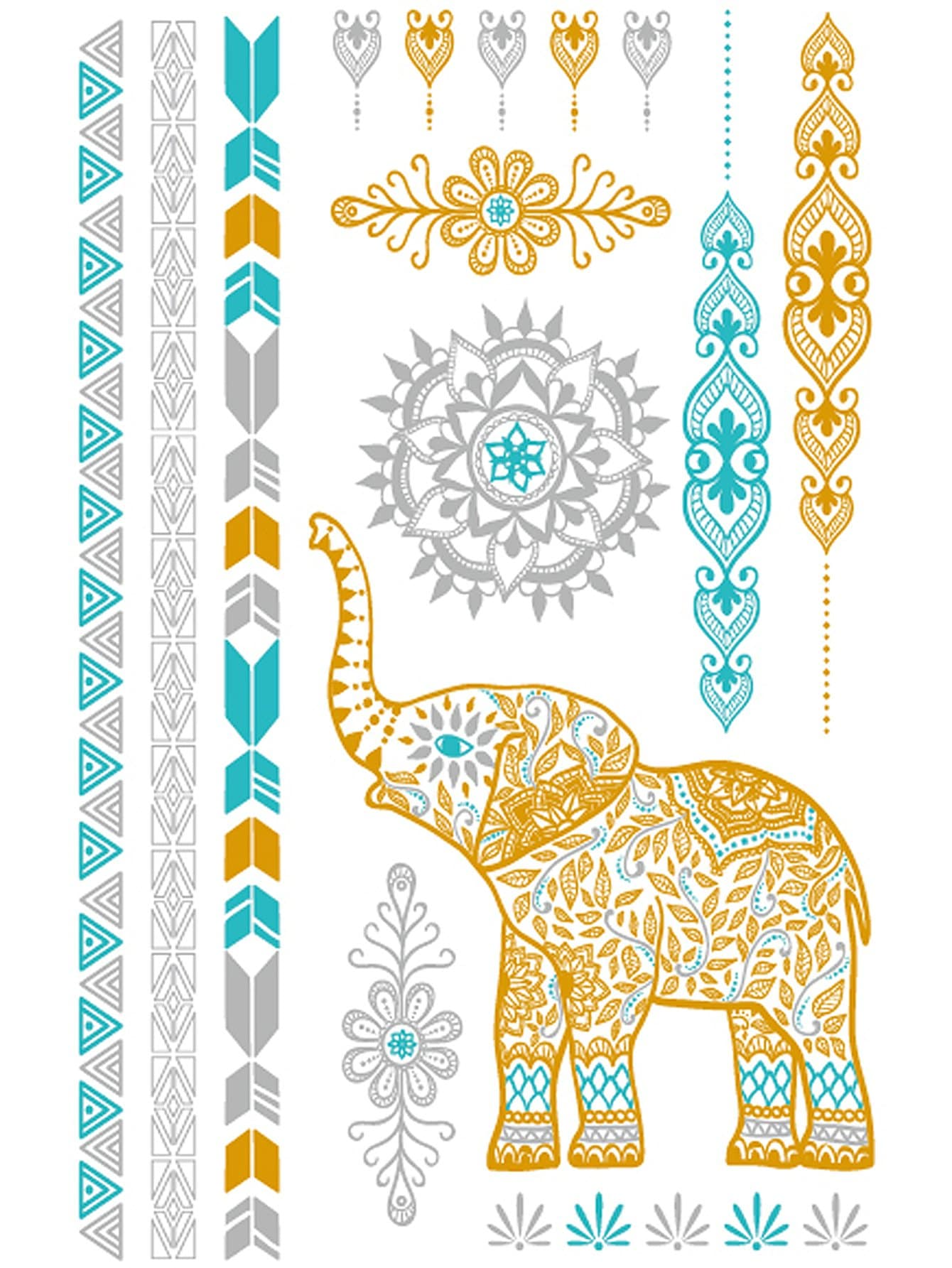 Hollow Elephant & Strip Tattoo Sticker
