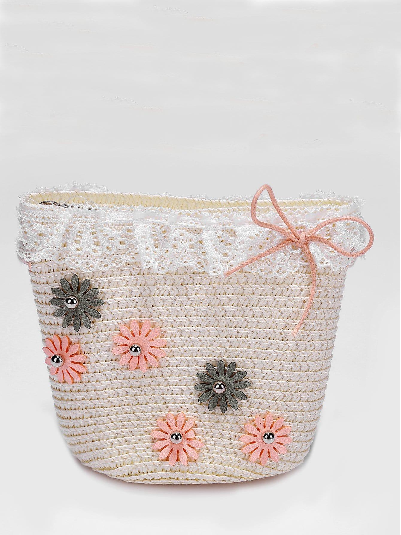 Girls Flower Decorated Straw Bag