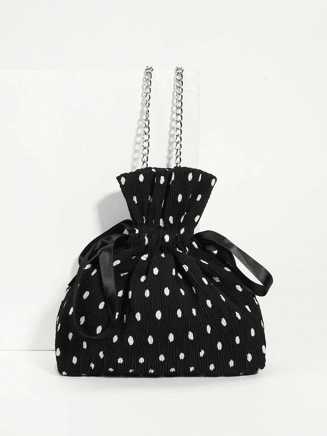 Drawstring Polka Dot Print Crossbody Chain Bag