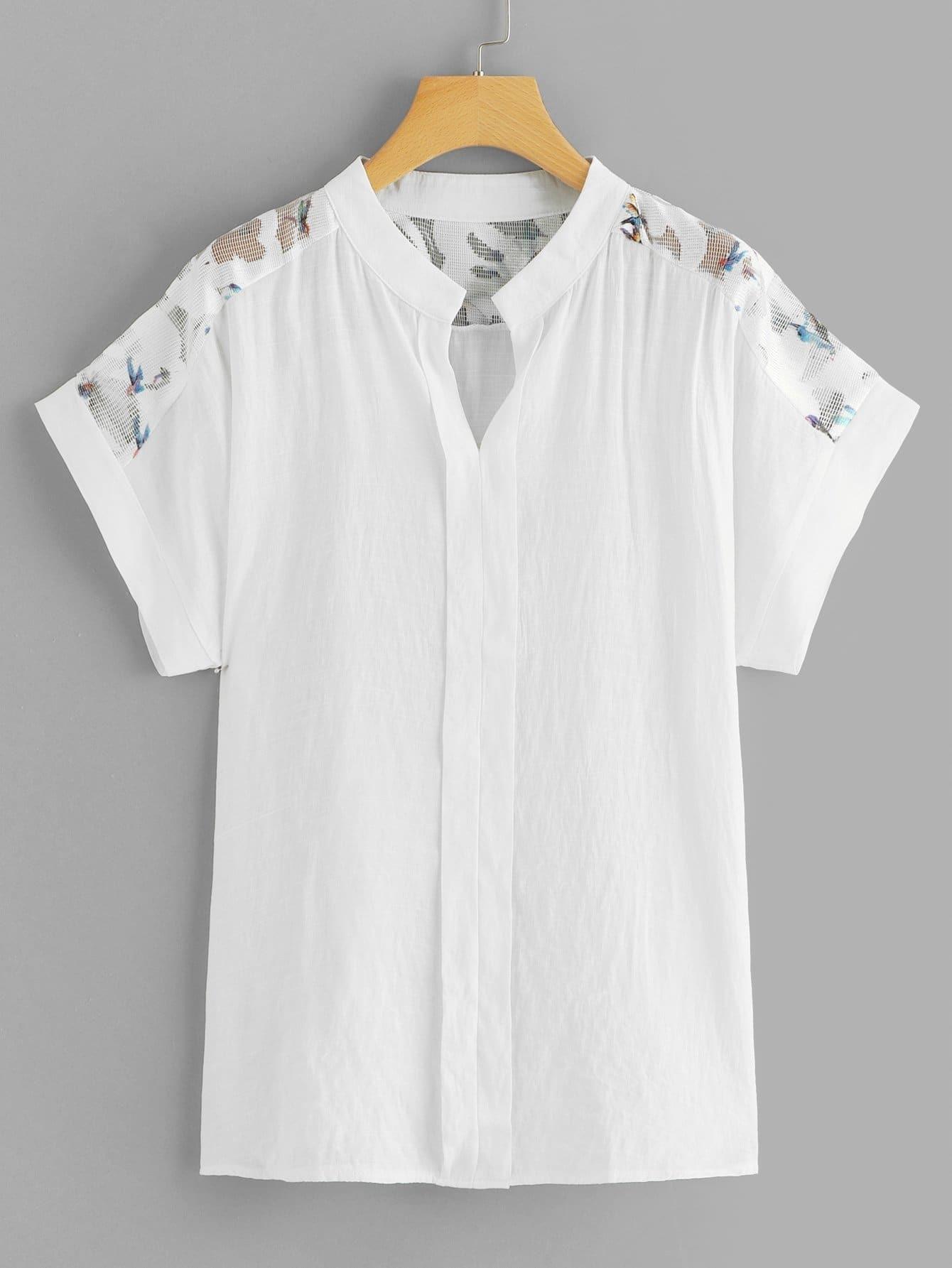 Купить Асимметричная контрастная сетчатая блузка, null, SheIn