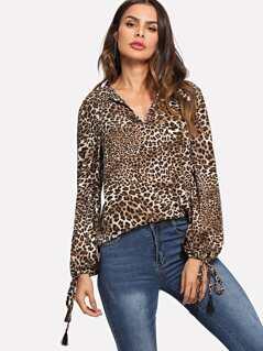 Tassel Tie Cuff Leopard Print Top