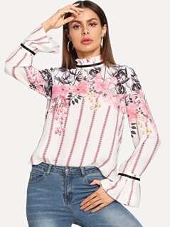 Frill Neck Mixed Print Flare Cuff Top