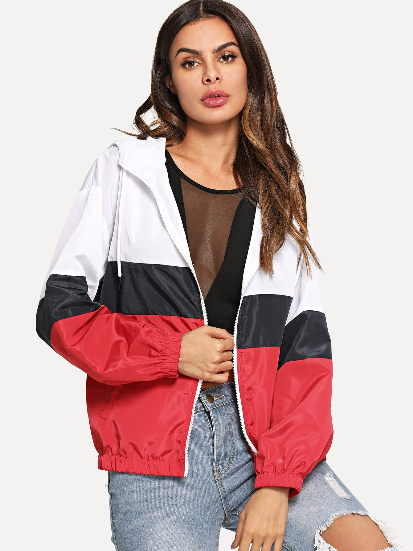 Купить Вырезать и сшить Zip Up Hoodie Jacket, Andy, SheIn