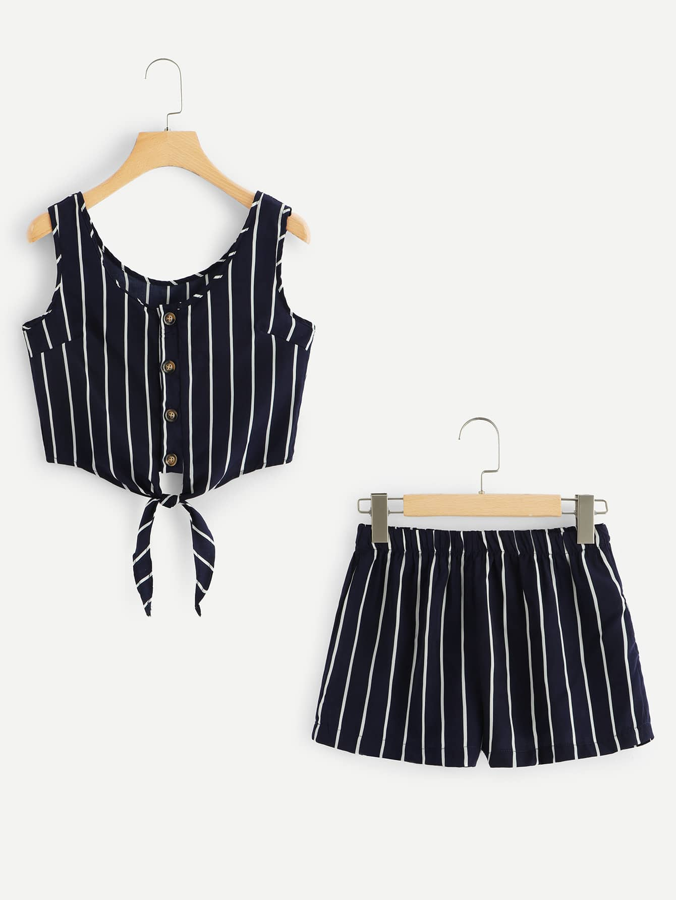 Knot Hem Single Breasted Striped Top With Shorts