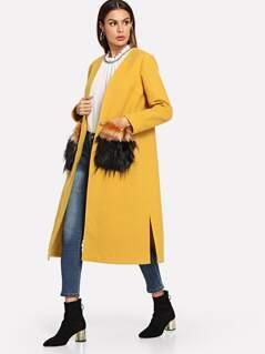 Faux Fur Pocket Longline Coat