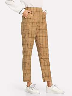 Grid Print High Waist Tapered Pants