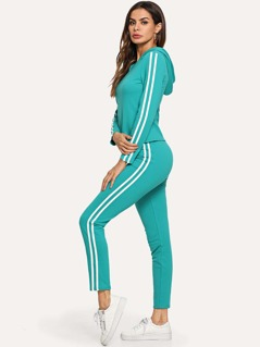 Striped Side Hoodie Top & Drawstring Pants Set