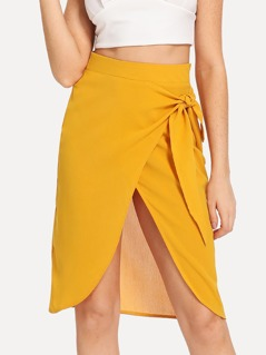 Knot Side Overlap Skirt