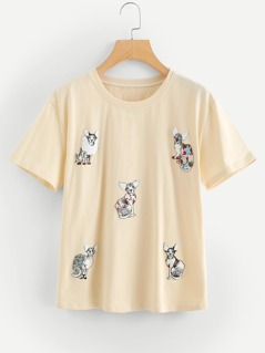 Animal Embroidered Applique Tee