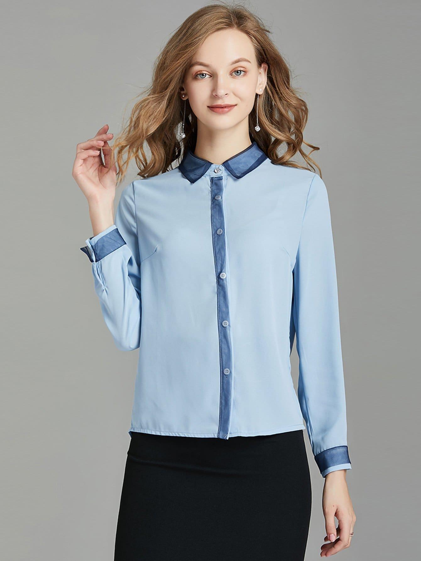 Купить Элегантный Одноцветный Пуговица Синий Блузы+рубашки, null, SheIn