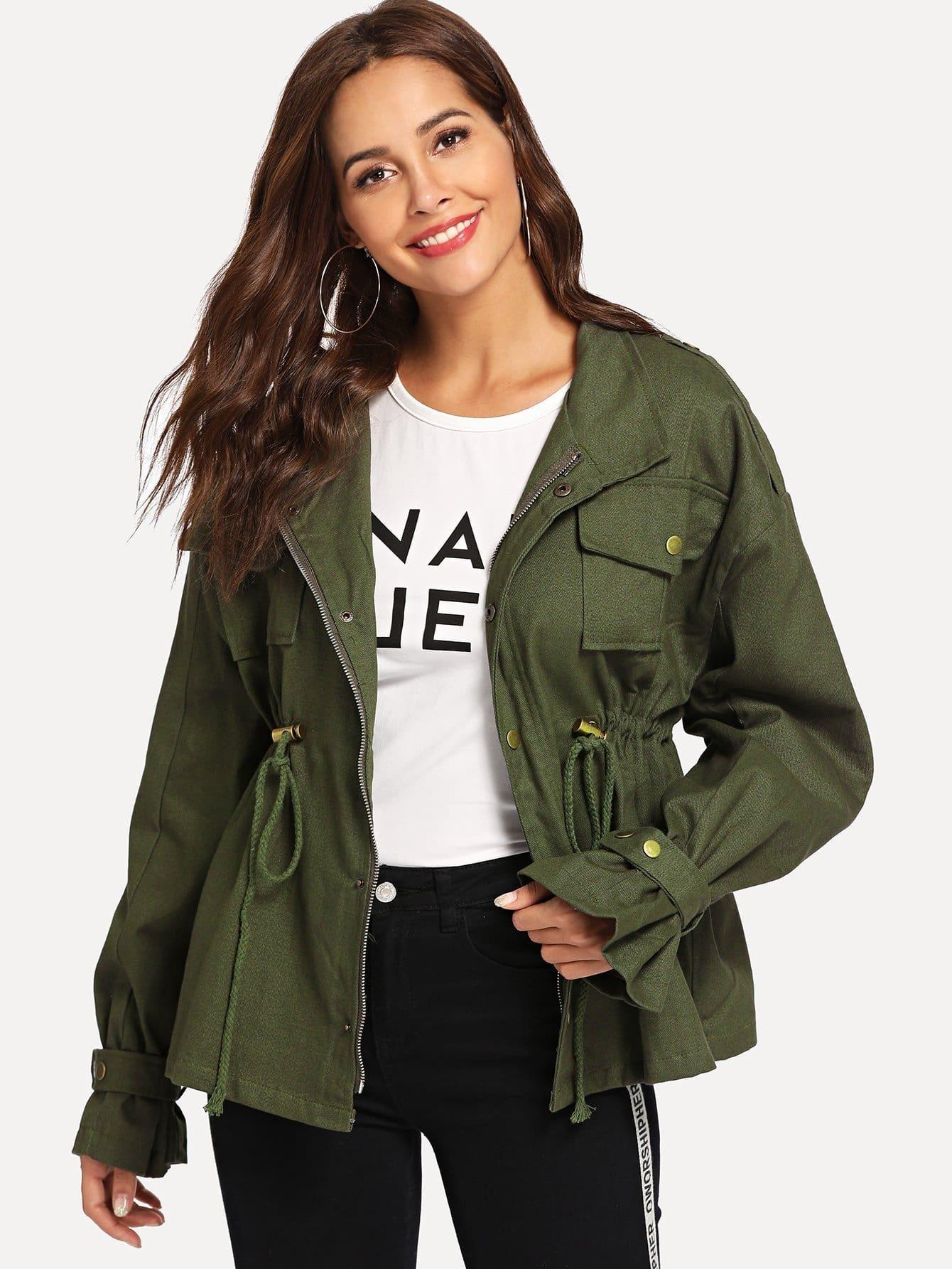 Купить Повседневный стиль Одноцветный с карманами Милитари Цвета хаки Пальто, Giulia, SheIn