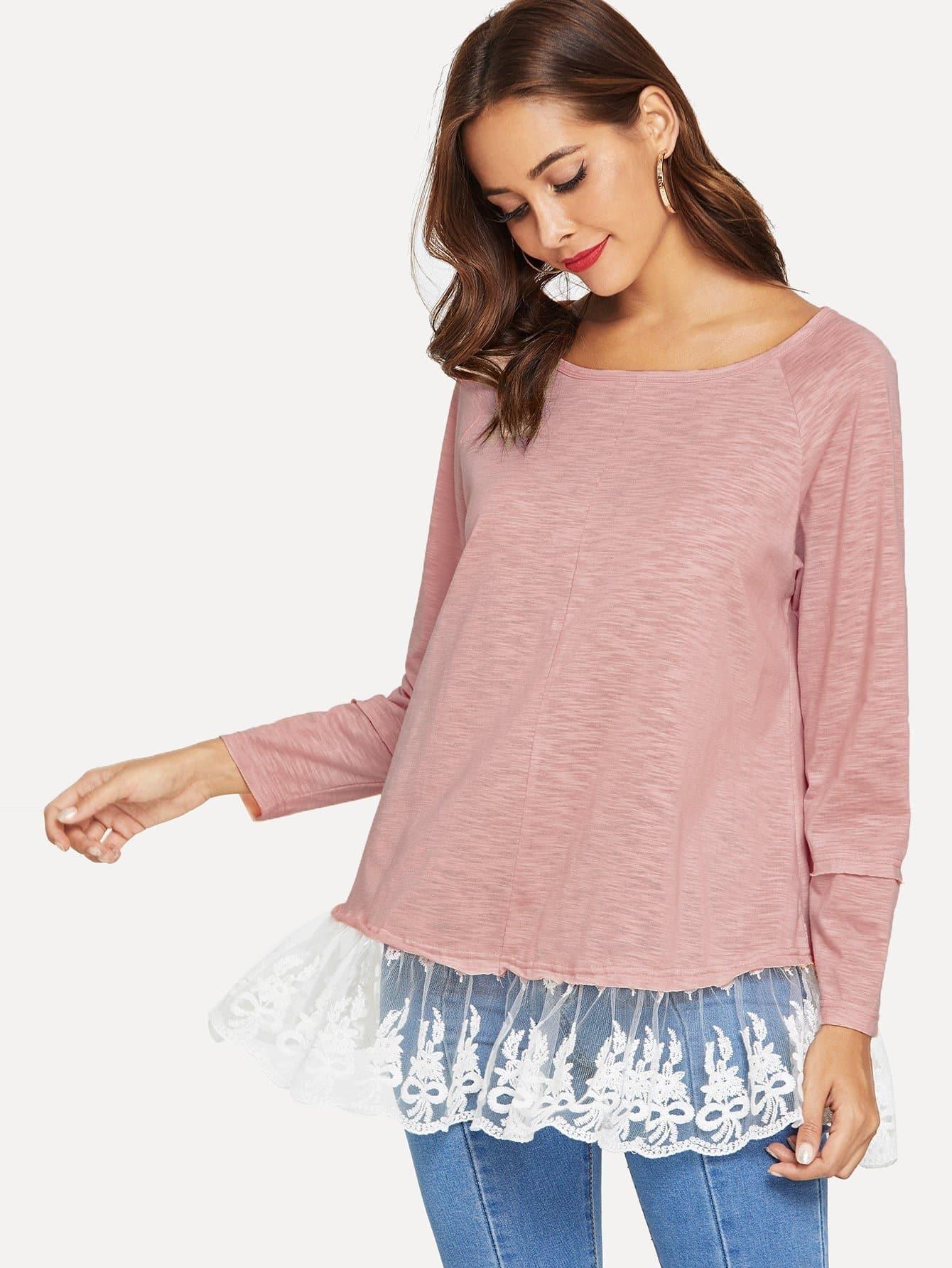 Купить Элегантный стиль Одноцветный Контрастные кружева Розовый Футболки, Giulia, SheIn