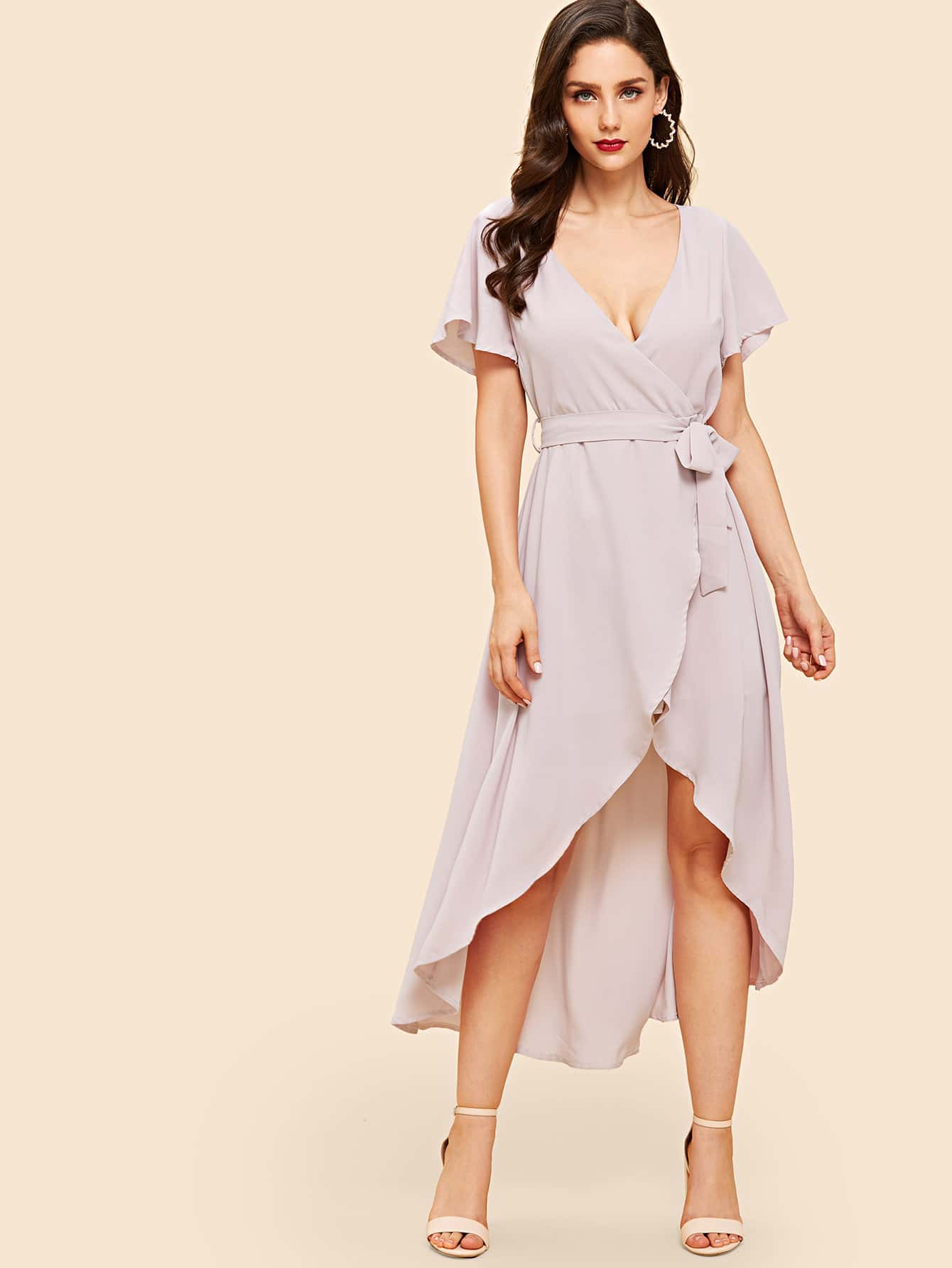 Flutter Sleeve Surplice Wrap Dip Hem Dress