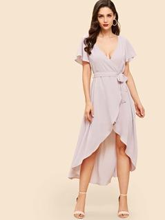 Flutter Sleeve Surplice Wrap Dip Hem Dress
